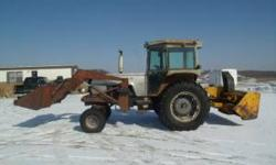 White 2-85 with quicktach loader. New hyd. pump a year ago. New alternator and batteries last fall. Front tires are near new rear tires are about 50-75%. Loader has a 7' bucket. Tractor runs great jus