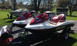 I have a set of 2003 Sea doo GTX 4 strokes with trailer. 155hp, 3 Seaters with reverse and rear step. These skis are in Martinsville, IN not in Louisville, KY.