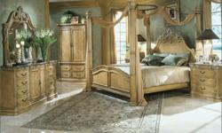 This bed room set includes the La Francaise King Size Bed (non poster - features Large Head and Foot board as shown), Bedside Chest, Dresser and Mirror and Armoire. This La Francaise Bedroom furniture