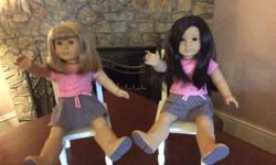 For Sale 4 AG Dolls - $65 for each doll Doll #1 Long dark hair, silky smooth and straight Long strings Brown Eyes - open and close perfectly Limbs are tight and can stand easily Comes with under pants