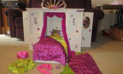 "AMERICAN GIRL * RETIRED * 3-1 MURPHY BED CLOSET ACCESSORIES *** $100 ***.  This is a genuine American Girl ""MURPHY BED"". It is a 3-in1 piece of doll furniture ... ... It is a combination of a closet,"