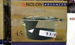 Anolon® Advanced Tapered Sauce Pot, 4.5 Qt. This spacious sauce pot heats delicious homemade soup and chili quickly and evenly to tongue-tingling levels of tastiness. Dupont's Autograph® 2 coating,
