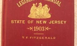 Up for sale is a rare hardcover 1903 State of New Jersey Legislative Manual. The author is T. F. Fitzgerald and this book has 548 pages. The only condition issues I see are: a) There's a rip in the pa