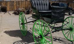 "Beautiful ""Hercules"" Horse Drawn Buggy.. Signed under seat "" Hercules Body Pat. Sept. 1910"".. Painted a dark green with lime green pinstripping and matching, lime green wheels...I take every nut and b"