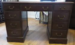 """For sale - Antique Desk - stamped in drawer """"Jamestown Table Company, Taylor Made"""". Very good condition, there are some scratches on the top. 8 drawers one is deep. measures - 43"""" L x 21"""" W x 30"""" T. C"""