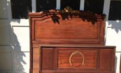 Type: Furniture Type: Antiques Beautifully detailed mahogany full/queen head and foot board bed in good condition with gold ormolu rams head detail on headboard and ormolu details on footboard. Have m