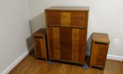 I have an Antique Mixed Style 6-Piece Bedroom Set for sale. The dresser and cedar lined hope chest (includes lock, but no key) are Art Deco from the 1920's to the 1940's. The hope chest has a plaque t