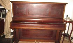Beautiful 100+ year-old Kimball upright piano for sale. Unable to play due to arthritis. Needs tuning. One key needs work. Otherwise in great condition. Sold as is. No bench. U-haul.