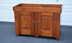 "ANTIQUE 1800'S HANDMADE DRY SINK KITCHEN CUPBOARD Approximate Size: 31"" High 20"" Deep 45.75"" Long Well Size: 44"" x 18.50"" 3.50"" Deep Very charming primitive antique dry sink or kitchen cupboard. This"