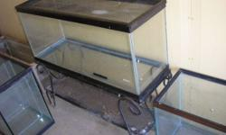 For sale numerous aquarium fish tank for critters, 5, 10, 20, 29, 55, 75 gallon tanks most hold water but selling as critter tanks, some have stands and some have mesh tops. Also have for sale aquariu