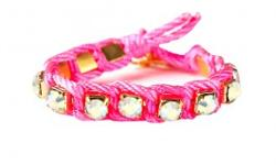 Buy an amazing design Aurora Friendship Bracelet in neon pink color from the 9thelm shopping store. This bracelet is handmade design with Aurora borealis glass stones, Soft twist cord and Gold Plated.