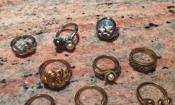 This is a LOT of 6 gold tone rings and 3 silver tone All stamped AVON This is vintage new rings except 1 There is a rear Love Birds blue cameo ring Sizes 5,6 This ad was posted with the eBay Classifie
