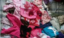 Infant girl clothes. Sizes 0-3mos. Some things are new! Hats, mittens, undershirts, single pants, shirt/pants sets, 1 snowsuit, 1 pink leather jacket, sets of socks, bibs, and 1 fleece blanket! All th