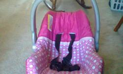 hello.. my daughter is a toddler now so im selling some stuff that she doesnt like anymore.. first is an evenflo pink infant carseat $20 pink and brown diaper bag by pretty baby $10 brown animal theme