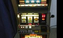 Bally Blazin' Sevens slot machine. This is a retired Atlantic City slot that is a $.25 up to 5 coin and 5 line multi line. Machine is very nice and works great. It comes with a manual on cd and jackpo