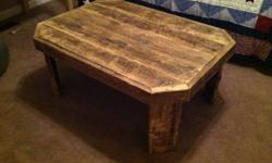 "Hand crafted barn wood table. 30"" wide x 40"" long by 17"" high. $175.00 or best offer. Can make any type of custom furniture. I posted a couple pictures of a light fixture and room divider. More pictur"