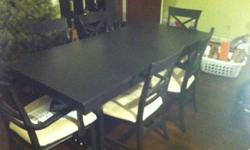 Gorgeous 9 piece dining space table completely brought back. Completely sanded and repainted table, chairs, and bench. Entirely reupholstered all seat cushions with suade creme color fabric. Table ext
