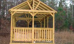 Beautiful 10x17 custom Amish made gazebo/pavillion with green shingle roof. Two doorways, lots of great uses. Really lovely.Treated wood, less than a year old. New over $3000 asking $1500 as we need t