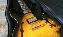 Beautiful Epiphone Dot Deluxe Vintage Sunburst Guitar w / Access Heavy Duty Case.  Super Clean Guitar, Limited Edition Model, Year 2010, Gold Hardware, 22 Frets, Smooth Mid-Neck Action, Stocked w / 2