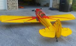 84 inch wingspan spacewalker. Zenoah Gas 23cc engine. Great shape. Fabric covered and professionally painted. Not a cheap ARF kit. Only flown a handful of times with never any accidents or repairs. Co