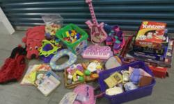 **TONS OF TOYS**  Located at Uncle Bob's Self Storage, 4059 Ginger Dr, D'Iberville, MS 39540   THINGS HERE:   Toy box(ordered for $228+ s&h- pink & white gingham lid broke/damaged in the back corner,