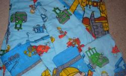 Bob the Builder Twin Reversible Comforter and Twin Sheet Set (one fitted sheet, one flat sheet and one standard pillow case) excellent condition, no tears, rips, stains or odor. From a smoke-free home