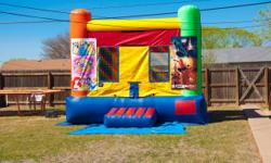 Huge bounce home for lease perfect for birthdays or other ocascion's. Dimensions 15x15 ft, it is tarp coverd with security net all around. Has interchangable banners, styles to include (Disney princes