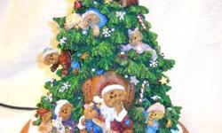 "This Boyd's Bears Christmas Tree is so cute!!!! Sold by Danbury Mint -- officially licensed by the Boyd's Collection. Lighted Christmas tree features 15 adorable Boyd's Bears. Tree is approx 13"" tall"