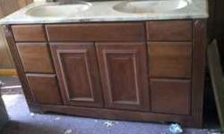 """I have a brand new never installed 60"""" grand bay bathroom vanity with new his and hers dual sink top and matching medicine cabinet.there is well over $2500. in new stuff the vanity alone is $1800. at"""
