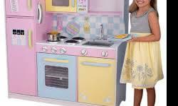 Brand New KidKraft Real Life Experience Large Wooden Kitchen Set  Children can now learn while having fun with KidKraft Large Kitchen. The large size of the set gives children a real life experience a
