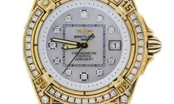 Dial: Mother of Pearl Dial with Diamond Numeral Hour Markers Bracelet: Yellow Gold with Diamonds Box and Papers: Comes with Breitling Box and Papers! Raymond Lee Jewelers Warranty Card is Also Include