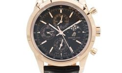 Pre-Owned Breitling Transocean 1461 Chronograph (R1931012BC20) self-winding automatic watch, features a 43mm 18k rose gold case surrounding a black dial on a black crocodile strap with an 18k rose gol