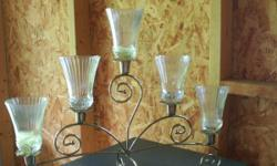 """. # 1 )Vintage Home Interiors Brass Plated Candelabra, 5 arm candle holder stand, gets: 5 clear glass renaissance votive candle sconce cups, 20 x 7 x 16""""H - $30.00. # 2) Vintage Pegged Sconce - Pink F"""