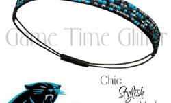 FREE SHIPPINGTeam Color Rhinestone Headband in Carolina Panthers colors4 Rows of RhinestonesStretch Back for great fitPerfect Game Day Accessory for Superbowl WeekendOne Size Fits MostFeel free to tex