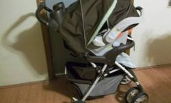 carseat/stroller matching set have base  had to sew spot on carseat where friend threw firecracker and hit it when it was in the garage but not really noticeble where it is all washed and in good cond