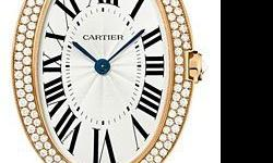 This Cartier Baignoire Womens Watch, WB520003 features 44x34.07 mm 18K pink gold case, Silver dial, sword-shaped blued-steel hands, Sapphire crystal, Fixed bezel, and a 18K gold bracelet. Cartier Baig