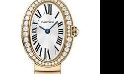 This Cartier Baignoire Womens Watch, WB520026 features 25.30 mm x 20.795 mm 18K pink gold case, Silver dial, sword-shaped blued-steel hands, Sapphire crystal, Fixed bezel, and a 18K pink gold bracelet