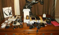 Everything pictured is included, most of the phones come on, unlocked, no passwords set, please read descriptions as some have cracked screens 4 Cell Phone Cases (2) are NEW 1 cell phone stand 4 cell