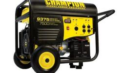 The Champion Power Equipment 41537 gasoline powered, electric start portable generator is powered by a 439cc Champion single cylinder, 4-stroke OHV engine that produces 7500 running watts and 9375 sta