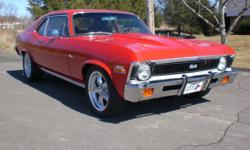 72 Nova Pro Touring Frame-Off restoration with no expense spared to create this 396-375hp solid-lifter monster. Custom Hooker headers for a little more horse power and quicker air flow through the sta