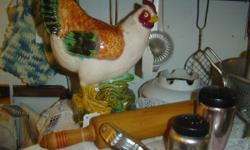 Nice selection of decorative chicken items for your kitchen in Booth 61 at the Firehouse Flea Market!  The pictures reflect some of the available chicken items.  There are additional chicken items sca