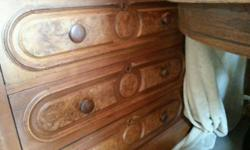 Large bedroom set made in 1800. Has marble tops for both dressers. Full size bed, 2 end tables, wall pockets, dressers and more. Lots of pieces too many to list. For more information call Roger @ 573-823-9500