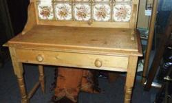circa 1860 double tile washstand w/ drawer. In original oak finish, very interesting!!! check them out on this link:http://photobucket.com/squirrelsnestresale or come see them all and sooo much more @
