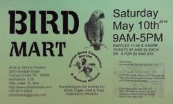 Birds, Cages, Bird Seed & & Feed, Toys and more ... All at the Coastal Bend Buddy Bird Club & & Rescue Mission's. HUGE Bird Mart. Someday Simply !!!!! Sunday May 10th, 2014. 9-5, $3, Under 12 free of