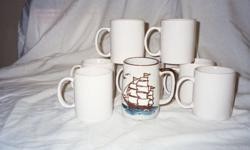 This lot is restaurant coffee cups/mugs. Appear to be new with a sailing cup included. Very durable with easy grip handle.