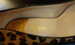 Practically new, worn once, Cole Haan size 7.5 Fiona Low Air Pump, leopard print. Located in long island. Limited Edition leopard print pony hair. The Fiona Low Air Pump combines Nike comfort with cla