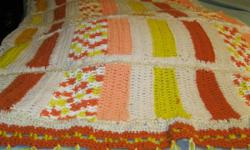 COLOR BLOCKING  AFGHAN 3.3ft x 4 1/2ft Orange/Pastels /Cream Yellow/Fringed/Reg $45//New sale... $35 firm cash & carry ... Call 850-995-1415  4041  ADAMS RD PACE FL 32571 call to view & purchase. I ha