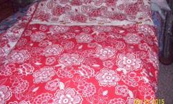 Queen/Full reversible comforter, marching sold red cotton Queen sheets and pillow cases, shams to match comforter.....need the space and downsizing my storage....entire set $30.00