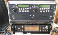 """This Mobile D J System is ready to use, it contains: 1- Black """"Gator"""" box 2- Eurorack MX 2004 A 8 channel mixer 3- Staton C-502 dual C D Players 4- Applied Reasearch & Technology dual 15 band E Q 5- B"""