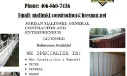 Need Construction on your Home or Business even Rental Property?  I'm Your man, I cover most areas of the Construction Field,  New or Remodel, Framing, Decks, Deck additions, Siding, Vinyl and Smart S